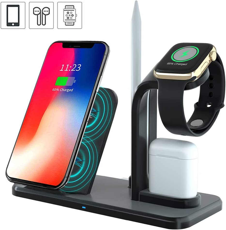 Wireless Charger Stand Charging Station for iPhone11 Pro Max/X/XS/XR/8/8P,3 in 1 Wireless Charging Station,Charger fit for Airpods Holder for Apple Watch and Pencil