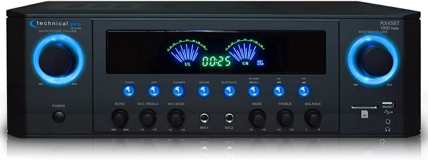 Technical Pro Professional 1000 Watts Receiver with USB SD Card Inputs, 2 Mic Inputs, Recorder, and Wireless Remote