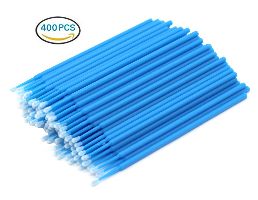 Hillento 400 PCS Disposable Cotton Swabs, Eyelash Extension Disposable Tattoo Makeup Brushes Cotton Swabs Stick with Plastic Handle, Yellow Ds Online