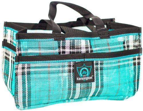 - Kensington Horse Grooming Tote Bag -  Handy Upright Stow Away in Vibrant Plaid Designs - Very Durable with Lots of Storage Compartments - 12