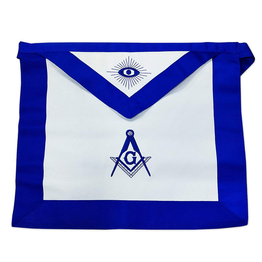 FunYan Masonic Apron Synthetic Leather Blue Lodge Master Mason Blue Grosgrain Ribbon Borders by BQuen