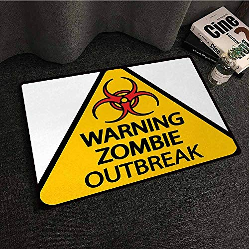 SONGDAYONE Decorative Door mat Zombie Warning The Zombie Outbreak Sign Cemetery Infection Halloween Graphic Will not Fade Earth Yellow Red Black,W24 xL35]()