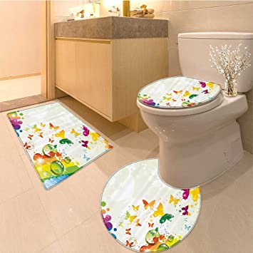 Amazoncom 3 Piece Bathroom Rug Set Romantic Brushstroke Backdrop