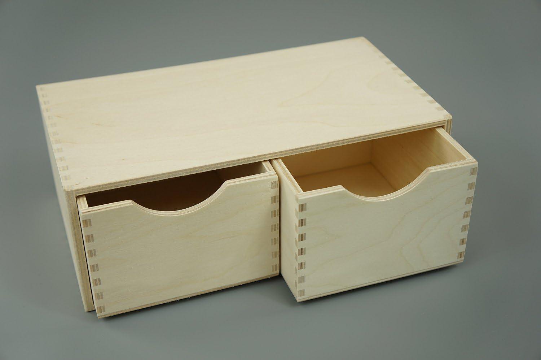2PO PLAIN de madera caja de almacenamiento armario pecho de cajones Collage pirografía: Amazon.es: Hogar