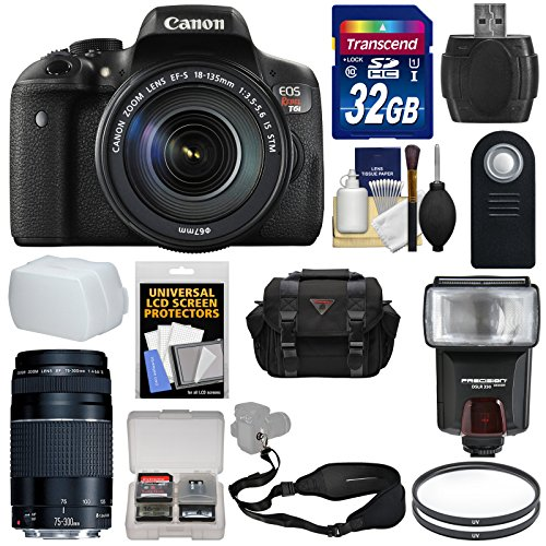 Canon EOS Rebel T6i Wi-Fi Digital SLR Camera & EF-S 18-135mm IS STM & 75-300mm III Lens with 32GB Card + Case + Strap + Filters + Flash + Kit