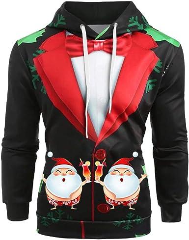 Allywit Unisex 3D Print Pullover Xmas Shirt Hoodie Men Women Sweater Hooded Jacket Pocket