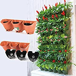 Worth Self Watering Vertical Wall Planter Flowerpot,Hanging Plant Pots W/ 3-pockets and 3pc Filter Layer,Terracotta,Perfect for Indoor & Outdoor DecorxFF08;Buy 3 Sets GetxFF09;