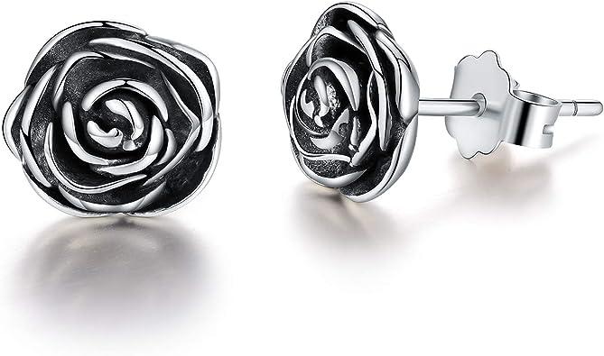 Esberry 18 Karat Vergoldung 925 Sterling Silber Rose Ohrstecker Hypoallergene Blume Ohrringe Schmuck für Frauen und Mädchen