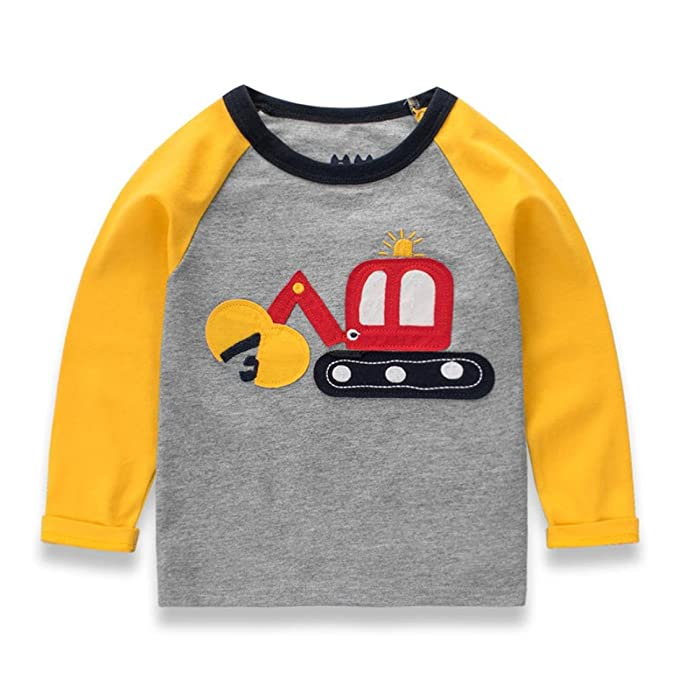 Yannerr Bebé niña niño manga larga Dibujos excavadoras empalme camiseta tops, Chico primavera Inferior blusa