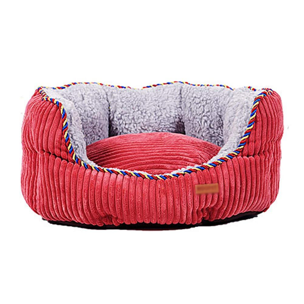 75×70×20cm ZXL Round Cuddler Pet Bed, Thick and Warm Washable Dog and Cat Bed, for Small Medium Breeds, Red (Size   75×70×20cm)