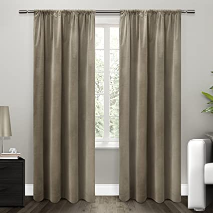 Exclusive Home Curtains Cotton Velvet With Blackout Lining Rod Pocket Window Curtain Panel Liner