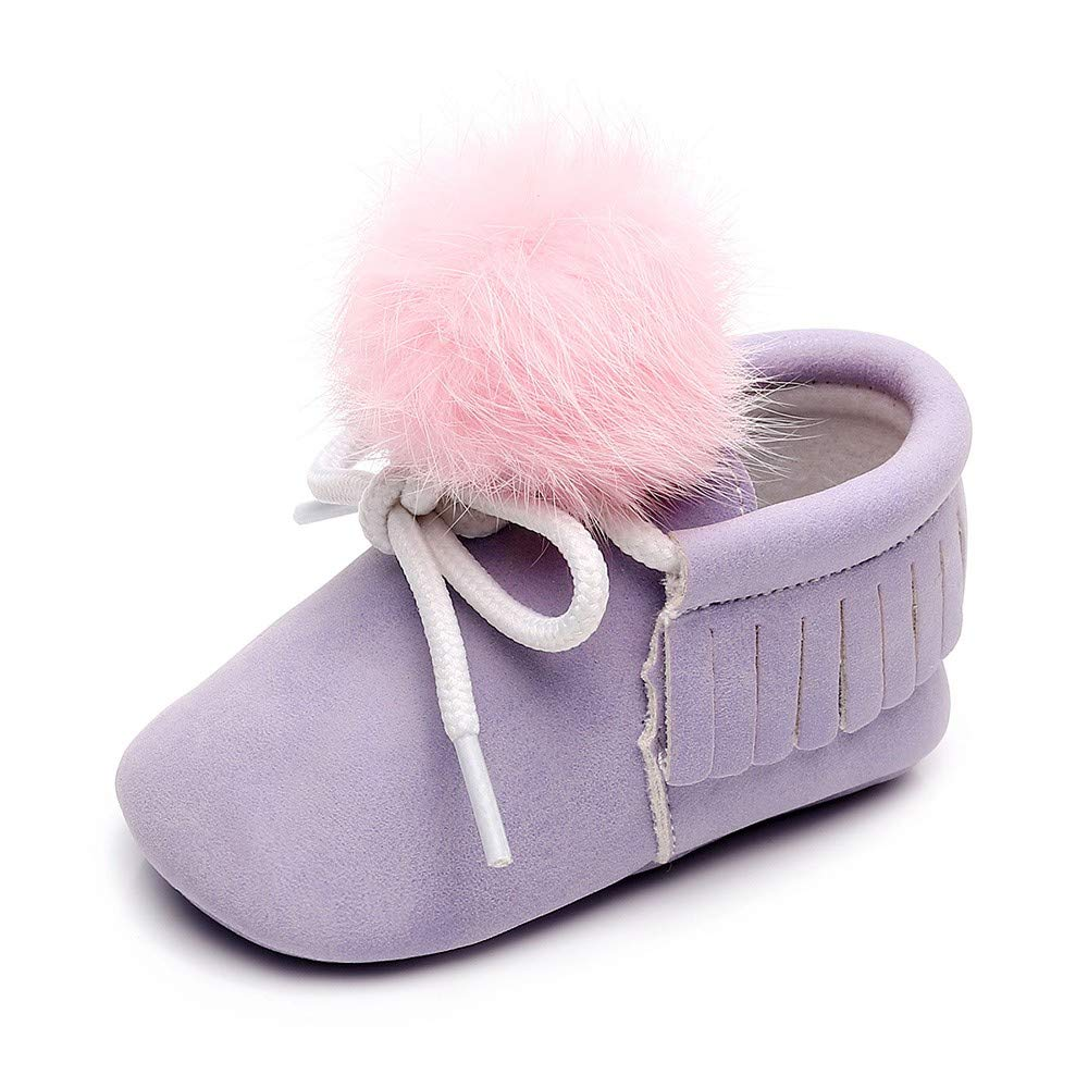 Foncircle Baby Girl Solid Color Tassel Bandage Toddler Shoes Anti-Slip Shoes