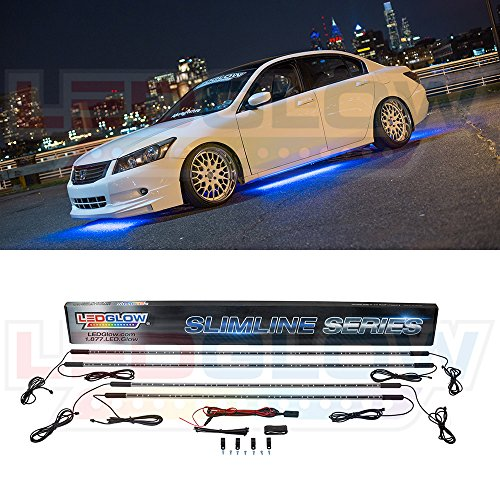 Ground Effect Lights (LEDGlow 4pc Blue Slimline LED Underbody Underglow Car Light Kit - Water Resistant - Wide Angle SMD LEDs)