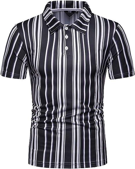 Blusas Camisa Negra Rayas Hombre Camisas Hawaianas Causal en Playa Verano Manga Corta para Vacaciones Tops Camisa Estampada de Manga Corta Hombres Jodier (XXL, Black): Amazon.es: Deportes y aire libre