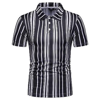 5a8daa20 KASAAS Polo Shirts for Men Stripes 1/4 Button Lapel Tops Short Sleeve  Business Summer