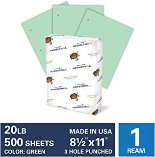 product image for Hammermill Colored Paper, 20 lb Green Printer Paper, 3 Hole - 1 Ream (500 Sheets) - Made in the USA, Pastel Paper