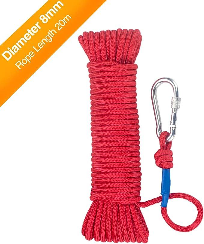 Wukong Cuerda 20 m x6mm/8mm – Cuerda de Tejiendo, Rojo/Negro Cuerda de Pesca, Multiusos Cuerda, Carga de Rotura: 150kg/250 kg