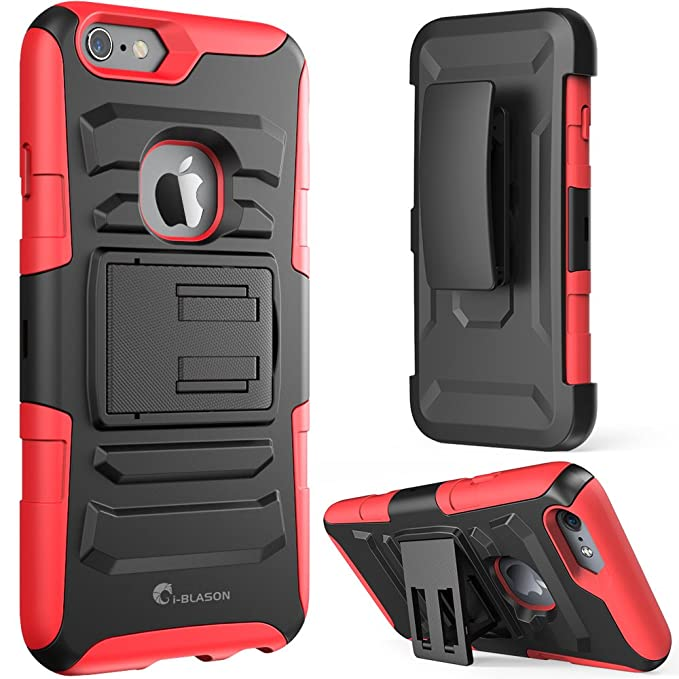 size 40 dbf63 7d955 iPhone 6s Plus Case ,i-Blason Prime [Kickstand] Apple iPhone 6 Plus Case  (5.5) [Heavy Duty] [Dual Layer] Combo Holster Cover [Belt Clip] (Red)