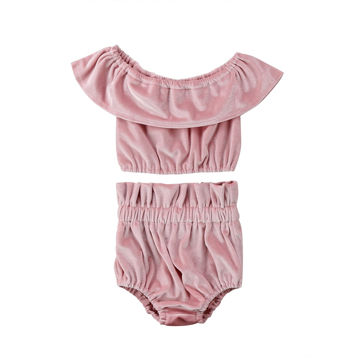 5dd0a2ce0 Material: Velvet, soft and luxurious. Package including: 1x Top+1x Shorts  Beautiful and stylish baby girl velvet off shoulder top with matching  shorts.