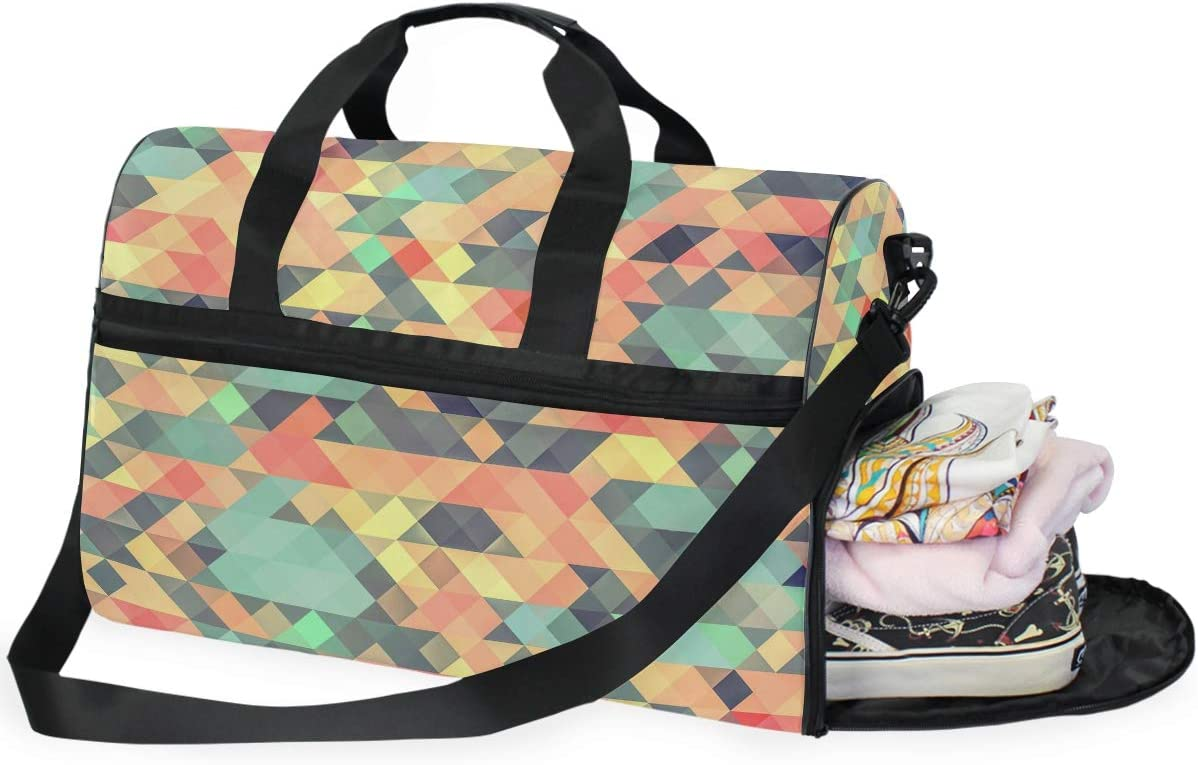 Weekender Bag with Shoes Compartment for Men Women MALPLENA Texture Colorful Travel Duffel Bag