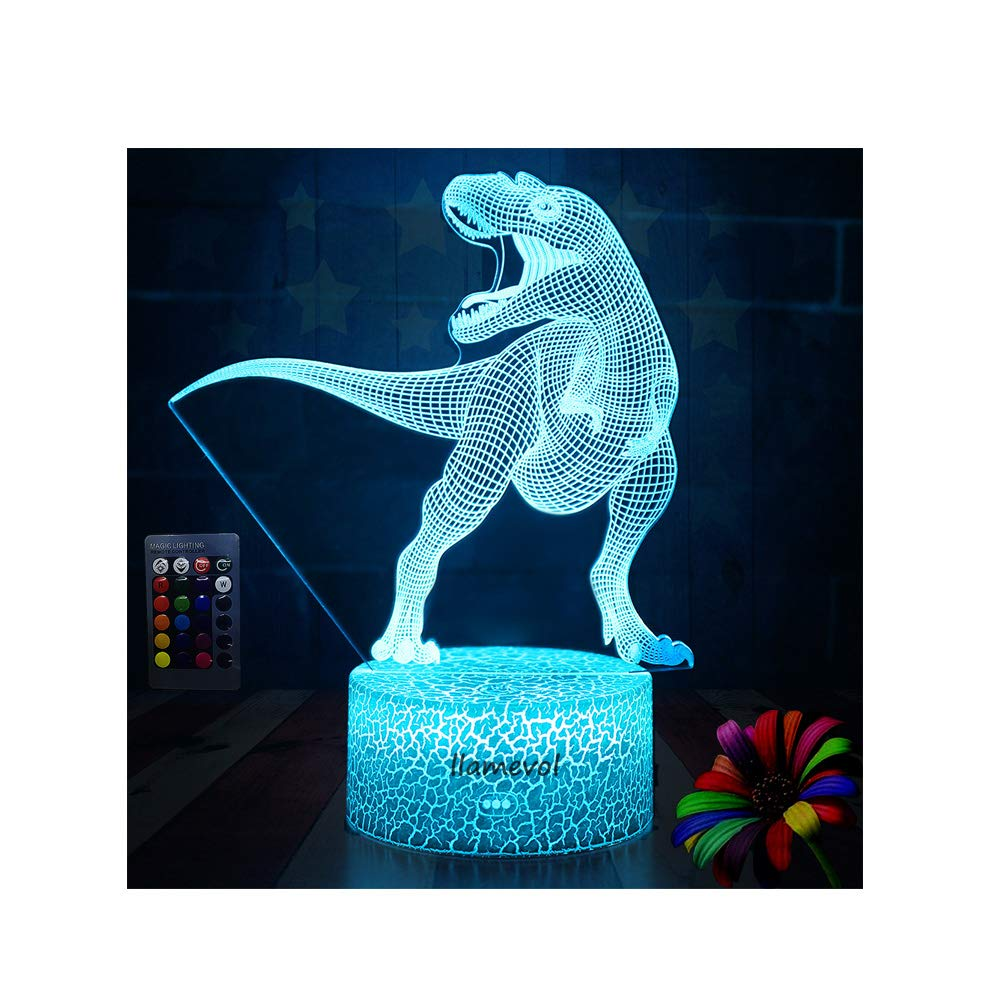 Dinosaur Night Lights for Kids Christmas Gift Birthday Indoraptor Toy 3D Illusion Lamp Dino Gifts for Boys Home Bedroom Party Supply Decoration 7 Color Blue Remote Raptor (2)