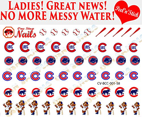 Chicago Cubs Clear Vinyl PEEL and STICK  nail decals/sticker