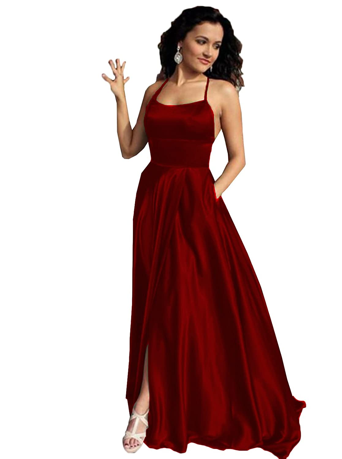 Scarisee Womens V-Neck Prom Evening Dress Split Formal Party Gown Court TrainSA5