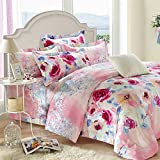 YIweNi Cotton Mill gross 4 piece cartoon of autumn and winter pure cotton wedding, Love in floral, 2.0 m Bed