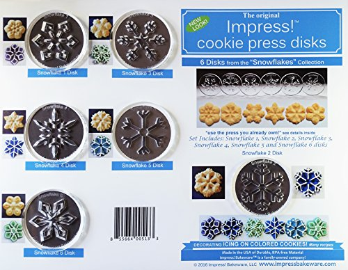 Snowflakes 6 Disk Set for Cookie Presses (Size P)