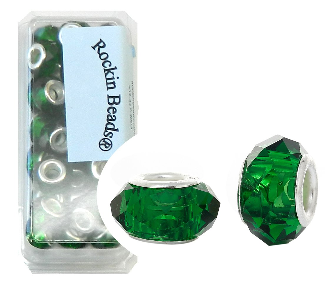 Rockin Beads Brand, 24 Emerald Green Beads Faceted Glass Large 4.5-5mm Hole