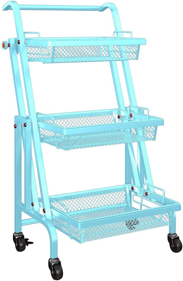 3 Tier Rolling Cart Folding Home Storage Utility Cart with Handle Metal Roller Kitchen Trolley Storage Shelf Rack with Brake Wheels - Teal