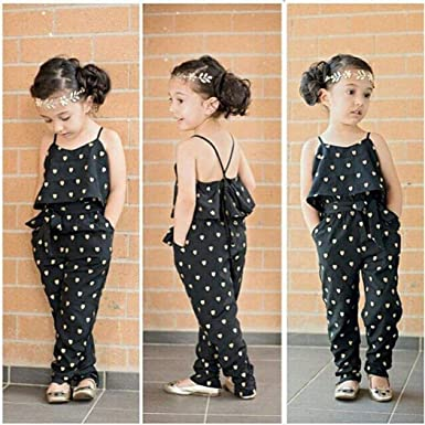 Toddler Baby Girls Summer Rompers Sleeveless Overalls Jumpsuits Playsuit Clothes