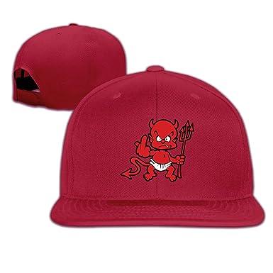 900361708c6 La Horde Satan Face Symbol Fuck Brim Hat Adjustable Flat Bill Hat One Size  Red