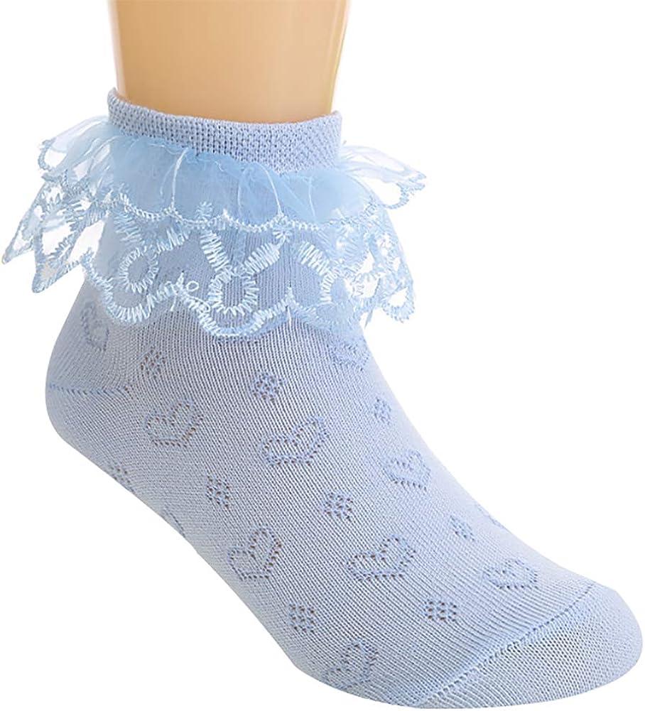 AMIYAN 4 Paar M/ädchen Sommer Spitze Socken Kinder Prinzessin Baumwolle R/üschen Tanzen S/öckchen