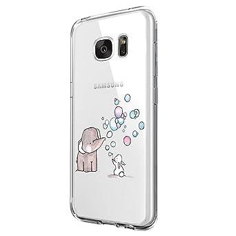 Riyeri Samsung Galaxy S7 Hülle, Transparent TPU Silikon Bumper Schutzhülle Kratzfest Stoßfesten Schlank Soft Handyhülle für S