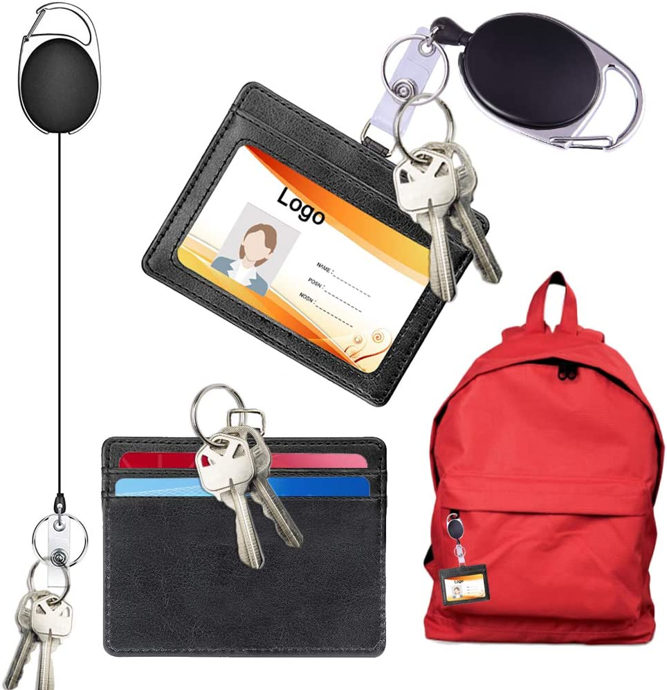 l/école verticale 2 porte-badge didentification avec lani/ère carte didentit/é verticale double face en cuir PU support de carte didentit/é 3 emplacements pour cartes pour le bureau