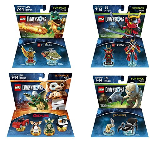 Gremlins Team Pack + The Lord Of The Rings Gollum + The Legend Of Chima Cragger + Ninjago Nya Fun Packs - Lego Dimensions (Non Machine Specific) ()