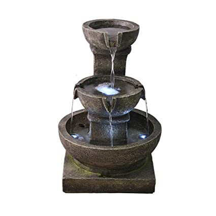 Amazon Com Kepooman Illuminated Waterfall Fountain 3 Tiers Home