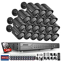 Annke 24CH 720P DVR AHD Home Security Camera System and (20) HD 1.0MP CCTV Cameras with Waterproof Night vision, Smart Motion Detection, E-mail Alert, Including 4TB HDD