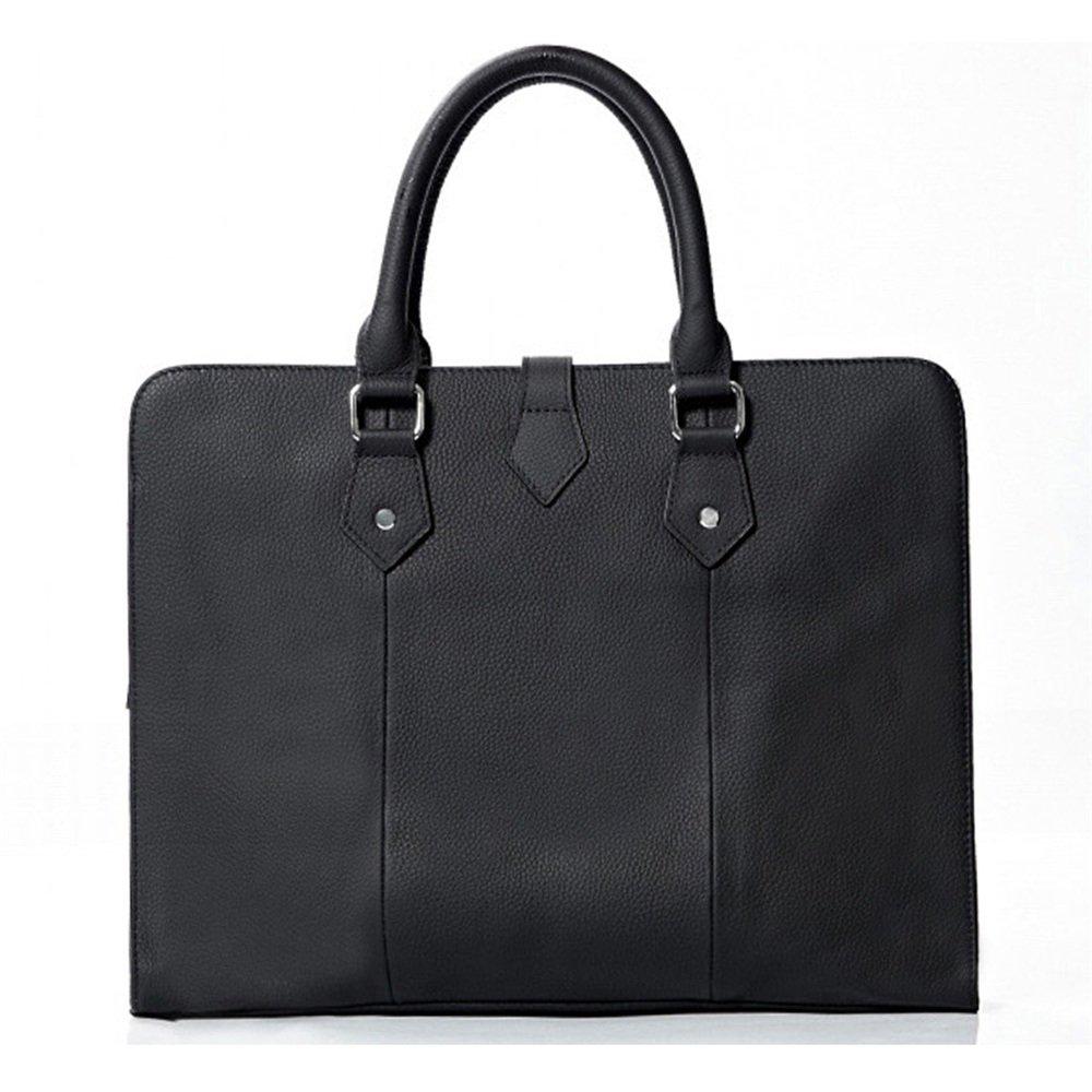 FeliciaJuan Mens Leather Messenger Bag Business Briefcase 15-inch Laptop Shoulder Tote Handbag Black