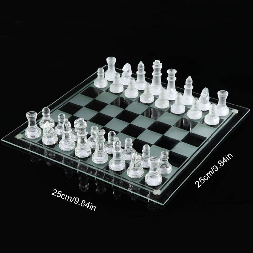 CAIM Cristal de ajedrez de Cristal, Exquisito Vidrio cristalino de Alta especificación Juego de ajedrez, Cubierta de Cristal Negro y Blanco del ajedrez (S, M, L) (Size : M) : Amazon.es:
