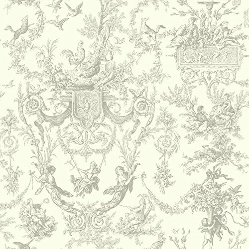 York Wallcoverings AF2020 Ashford Toiles Old World Toile Removable Wallpaper,,, Gray/White (Vintage Toile Wallpaper)