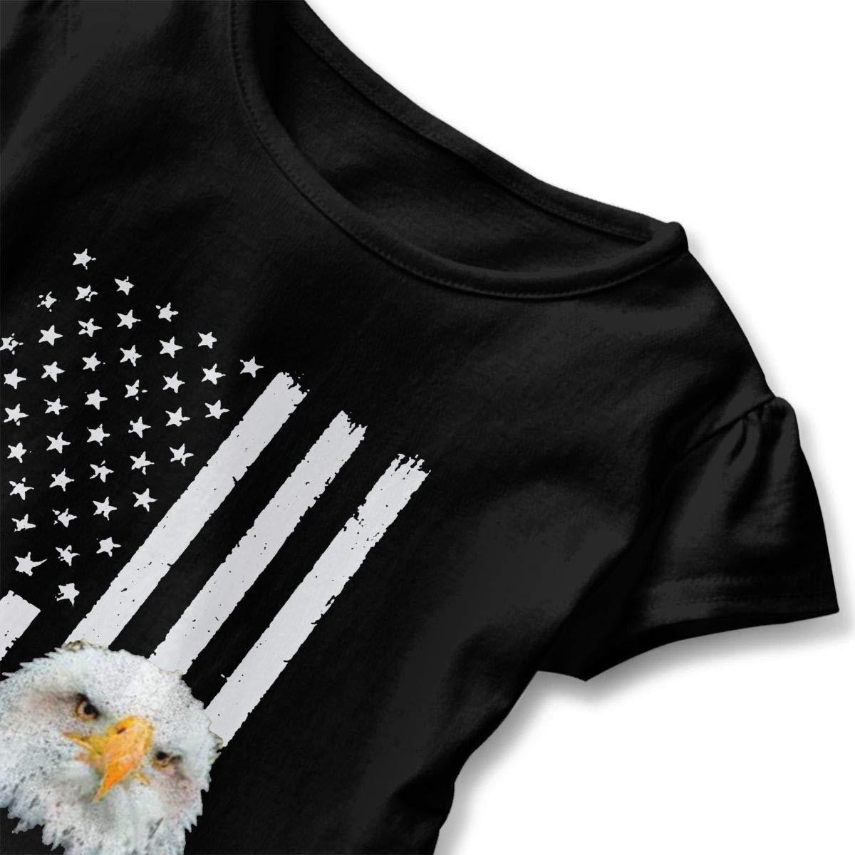 Vintage American Flag Bald Eagle Toddler Baby Girl Ruffle Short Sleeve T-Shirt Soft Cotton T Shirts