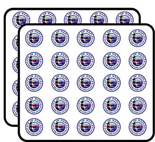 Round Naples City Seal (Florida fl Gulf) Sticker for Scrapbooking, Calendars, Arts, Kids DIY Crafts, Album, Bullet Journals