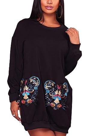 ZHRUI Sudaderas largas de Mujer con Bordados de Lentejuelas Jersey túnica Informal Tops (Color : Negro, tamaño : Large): Amazon.es: Hogar