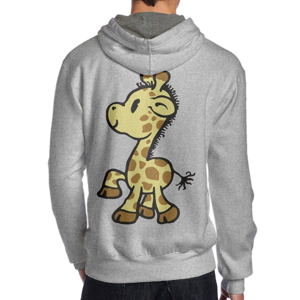 JHDKDGH-N Baby Giraffe Back Print Long-Sleeved Hoodie Men