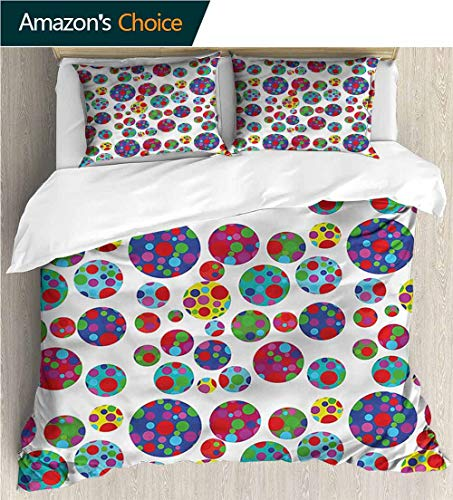 VROSELV-HOME Cotton Bedding Sets,Box Stitched,Soft,Breathable,Hypoallergenic,Fade Resistant Bedding Set for Teen 3Pcs-Colorful Colored Dotted Dots (87