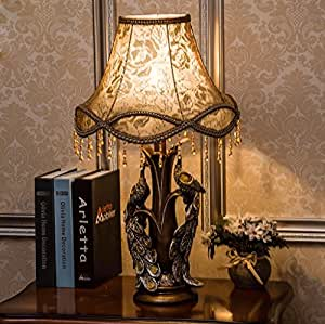 HH Bedroom bedside lamp European Peacock luxury complex classical creative American decorative arts study, living room lamp