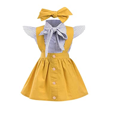 0af7fdd60 EDOTON Baby T-Shirt Strap Dress Christmas Outfits 2Pcs/Set Toddler Girl  Long/Short Sleeve Ruffle Top Overalls Plaid Skirt Clothes Set: Amazon.co.uk:  ...