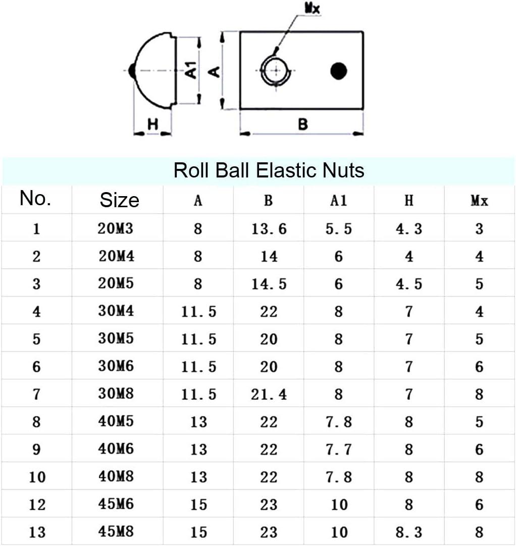 sourcing map M6 Roll Ball /écrous /élastiques s/érie 4545 Profil en aluminium extrud/é 12Pcs